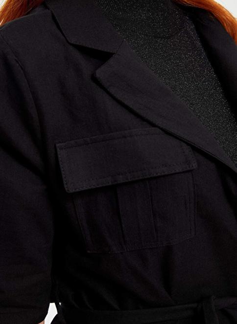 DeFacto Kemerli Relax Fit Blazer Ceket Siyah